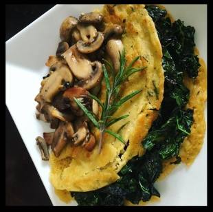 chickpea crepe kale and mushrooms